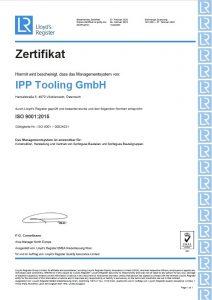 Zertifizierung ISO 9001 | IPP Tooling GmbH